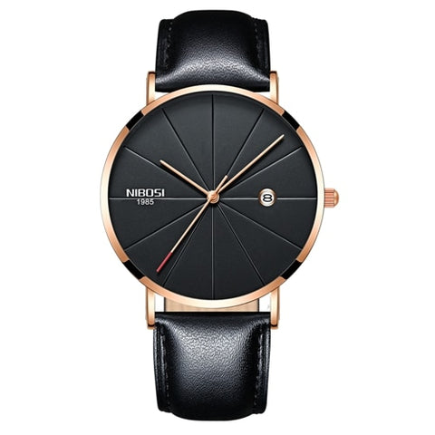 Image of Rose Gold Super Slim Sleek Black Face Quartz with Black Leather Analog Watch