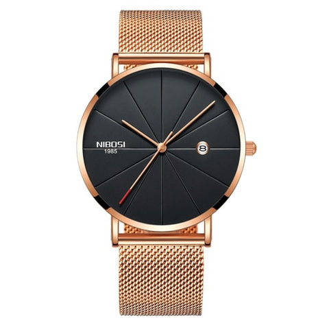 Rose Gold Super Slim Sleek Black Face Quartz Alloy Mesh Milanese Analog Watch