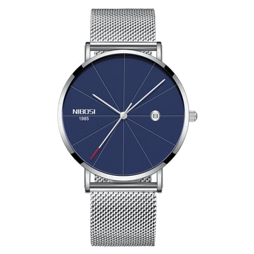 Silver Super Slim Sleek Blue Face Quartz Alloy Mesh Milanese Band Analog Watch