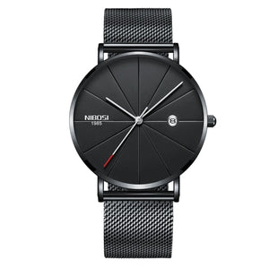 Gunmetal Super Slim Sleek Black Face Quartz Alloy Mesh Milanese Analog Watch