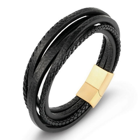 Image of Stainless Steel Chain Genuine Leather Bracelet