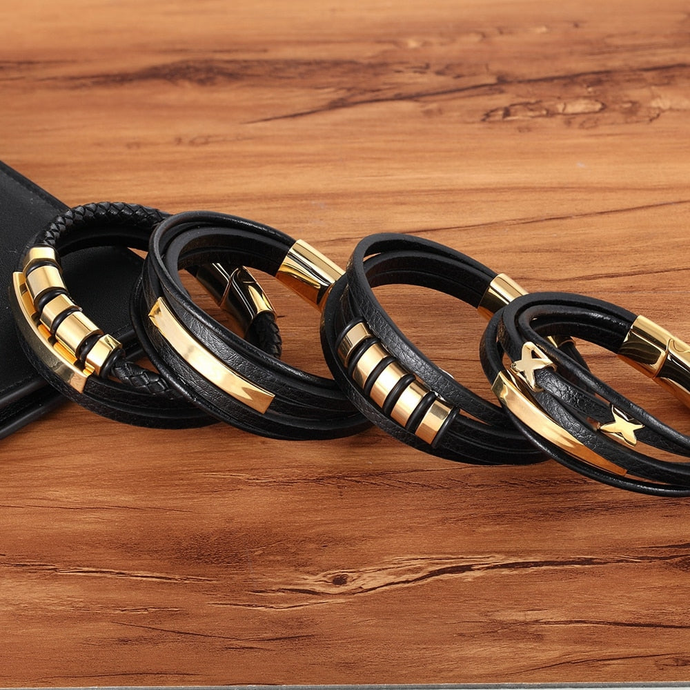 Multi-layer Multi Style Genuine Leather Bracelet