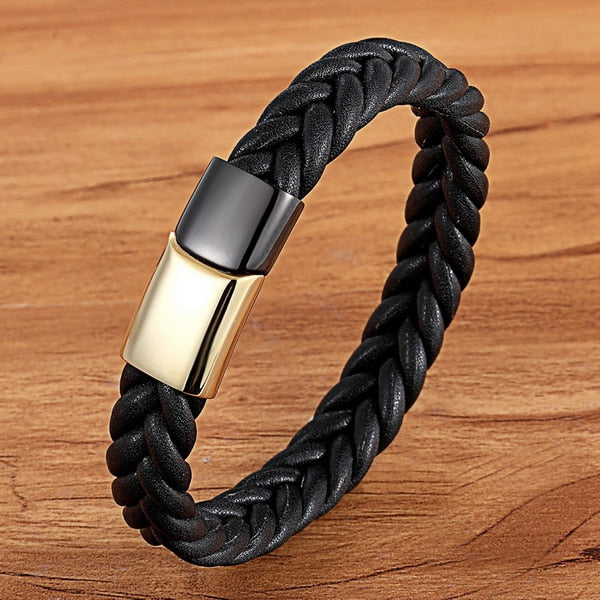 Black Gold Stainless Steel Magnetic Button Design Genuine Leather Bracelet
