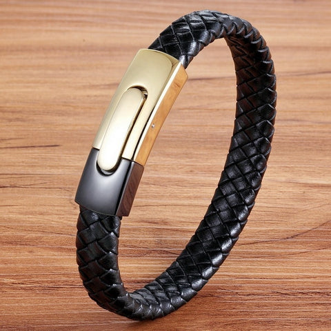 Image of Black Gold Stainless Steel Magnetic Button Design Genuine Leather Bracelet