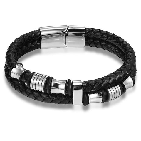 Image of Leather Stainless Steel Wristband Bracelet