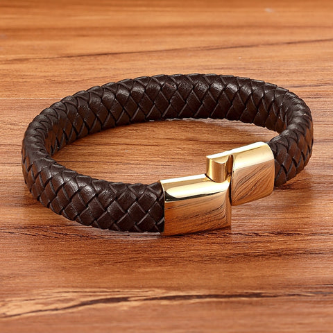 Image of Brown Classic Braid Bracelet for Men