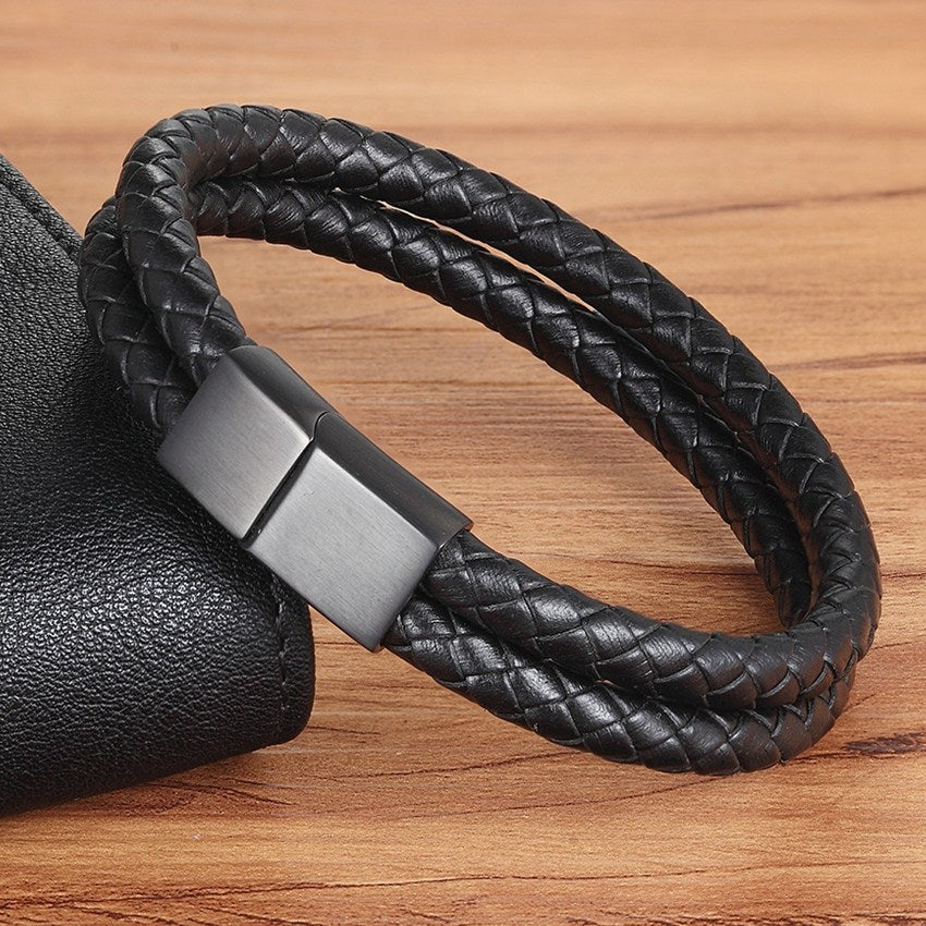 Double Layer Black Genuine Leather Bracelet