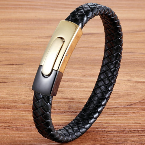 Image of Black Gold Combination Snake Chain Stainless Steel Leather Bracelet