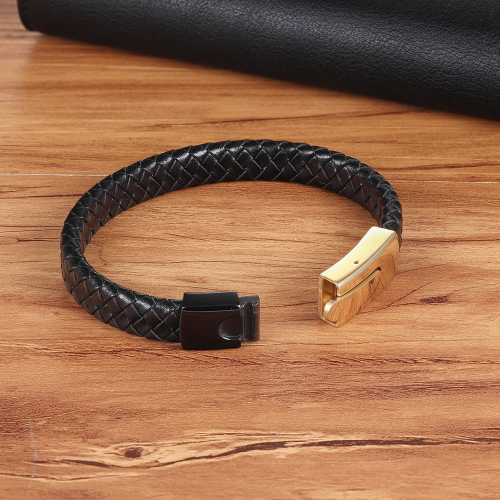Black Gold Combination Snake Chain Stainless Steel Leather Bracelet