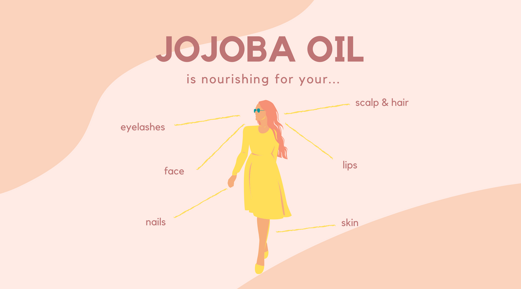 Jojoba Oil is nourishing for your scalp and hair, eyelashes, lips, face, nails, and skin