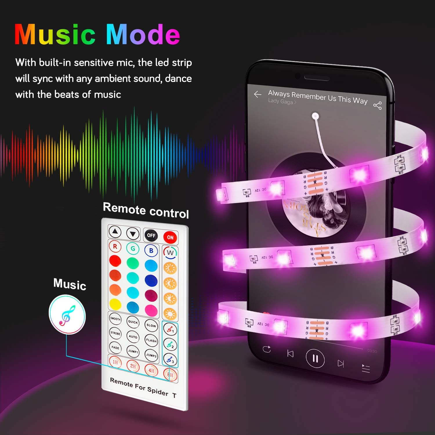Maxcio Smart Music Sync LED Light Strips (5M)