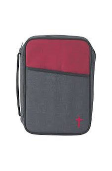 Gray and Red 8.1 x 10.8 inch Reinforced Polyester Bible Cover Case with Handle 603799215633