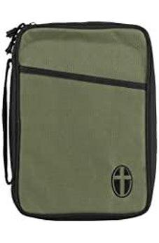 Olive and Black Cross Polyester Bible Cover Case With Handle Large 603799220903