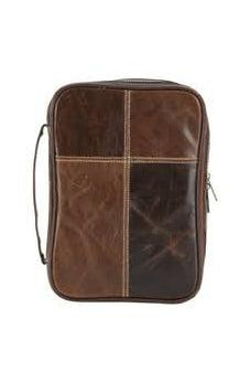 Brown Leather with Cross Stitch Bible Cover with Handle, Large 603799886901