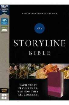 NIV, Storyline Bible, Leathersoft, Pink, Thumb Indexed, Comfort Print