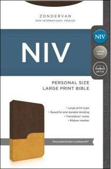NIV Large Print, Chocolate/Amber Soft Leather 9780310429401