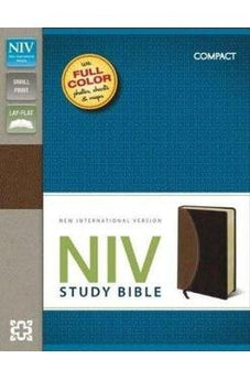 NIV Study Bible, Compact, Imitation Leather, Tan/Burgundy, Red Letter Edition (Small Print)  9780310438656