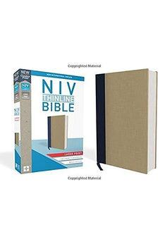NIV, Thinline Bible, Large Print, Cloth over Board, Blue/Tan, Red Letter Edition, Comfort Print 9780310448303