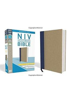 NIV, Thinline Bible, Giant Print, Cloth over Board, Blue/Tan, Red Letter Edition, Comfort Print 9780310448570