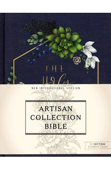 NIV, Artisan Collection Bible, Cloth over Board, Navy Floral, Designed Edges under Gilding, Red Letter Edition, Comfort Print 9780310453345