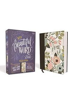 NIV, Beautiful Word Bible, Updated Edition, Peel/Stick Bible Tabs, Cloth over Board, Floral, Red Letter, Comfort Print 9780310453420