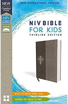 Image of NIV, Bible for Kids, Leathersoft, Gray, Red Letter Edition, Comfort Print: Thinline Edition 9780310764250