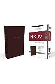 NKJV, Thinline Bible, Leathersoft, Burgundy, Red Letter Edition, Comfort Print