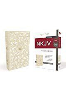 NKJV, Thinline Bible, Cloth over Board, White/Tan, Red Letter Edition, Comfort Print
