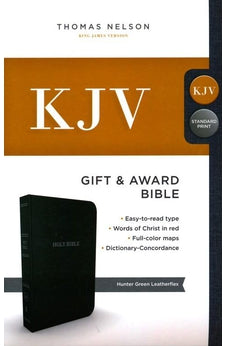 KJV, Gift and Award Bible, Leather-Look, Green, Red Letter Edition, Comfort Print 9780718097974