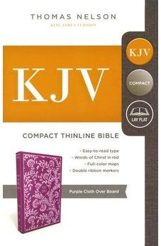 KJV, Thinline Bible, Compact, Cloth over Board, Purple, Red Letter Edition, Comfort Print 9780718098018