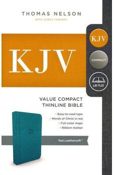 KJV, Value Thinline Bible, Compact, Leathersoft, Blue, Red Letter Edition, Comfort Print 9780718098025