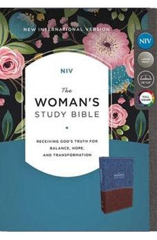 NIV, The Woman's Study Bible, Leathersoft, Blue/Brown, Full-Color, Red Letter: Receiving God's Truth for Balance, Hope, and Transformation 9780785215110