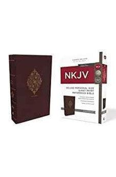NKJV, Deluxe Reference Bible, Personal Size Giant Print, Leathersoft, Burgundy, Indexed, Red Letter Edition, Comfort Print 9780785216896