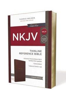 NKJV, Thinline Reference Bible, Leather-Look, Burgundy, Red Letter Edition, Comfort Print 9780785217831