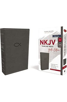NKJV, Thinline Bible Youth Edition, Leathersoft, Gray, Red Letter Edition, Comfort Print