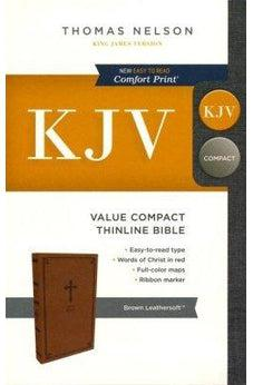 KJV, Value Thinline Bible, Compact, Leathersoft, Brown, Red Letter Edition, Comfort Print