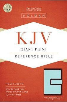 KJV Giant Print Reference Bible, Brown/Blue LeatherTouch with Magnetic Flap 9781433605635
