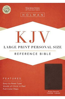 KJV Large Print Personal Size Reference Bible, Brown Genuine Cowhide Indexed 9781433605987