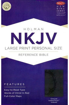 NKJV Large Print Personal Size Reference Bible, Charcoal LeatherTouch Indexed 9781433606588