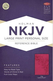 NKJV Large Print Personal Size Reference Bible, Pink LeatherTouch 9781433613029