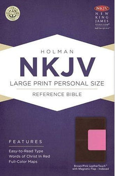 NKJV Large Print Personal Size Reference Bible, Brown/Pink LeatherTouch with Magnetic Flap Indexed 9781433613173