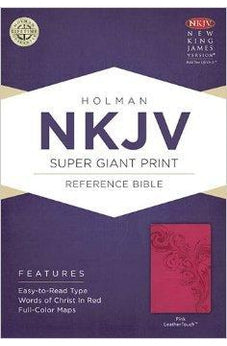 NKJV Super Giant Print Reference Bible, Pink LeatherTouch 9781433614132