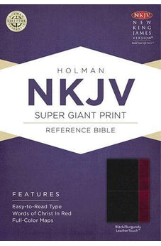 NKJV Super Giant Print Reference Bible, Black/Burgundy LeatherTouch 9781433614194
