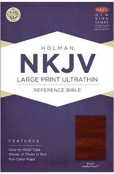 NKJV Large Print Ultrathin Reference Bible, Brown LeatherTouch 9781433614873