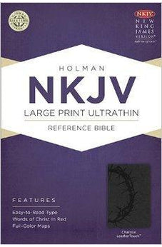 NKJV Large Print Ultrathin Reference Bible, Charcoal LeatherTouch 9781433614897