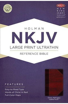 NKJV Large Print Ultrathin Reference Bible, Classic Mahogany LeatherTouch 9781433615016