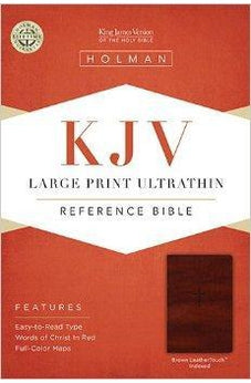 KJV Large Print Ultrathin Reference Bible, Brown LeatherTouch Indexed 9781433615542