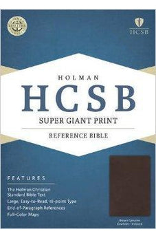 HCSB Super Giant Print Reference Bible, Brown Genuine Cowhide Indexed 9781433615894