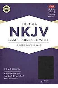 NKJV Large Print UltraThin Reference Bible, Black Genuine Leather 9781433645006