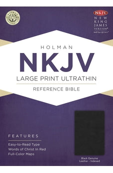 NKJV Large Print UltraThin Reference Bible, Black Genuine Leather Indexed 9781433645013